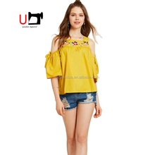 2018 Fashion Clod Shoulder Women Casual Blouse Designs Embroidery Ladies Tops Latest Design Guangzhou Manufacturer