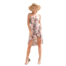 Casual Summer Pink Wrap Dress Womens Floral Flounce Sundress