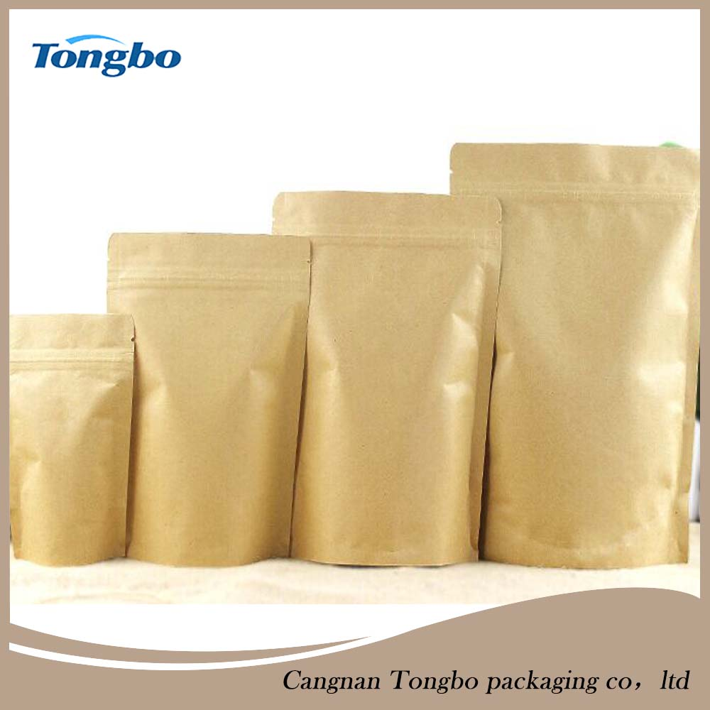 Small zipper kraft paper pouch for food