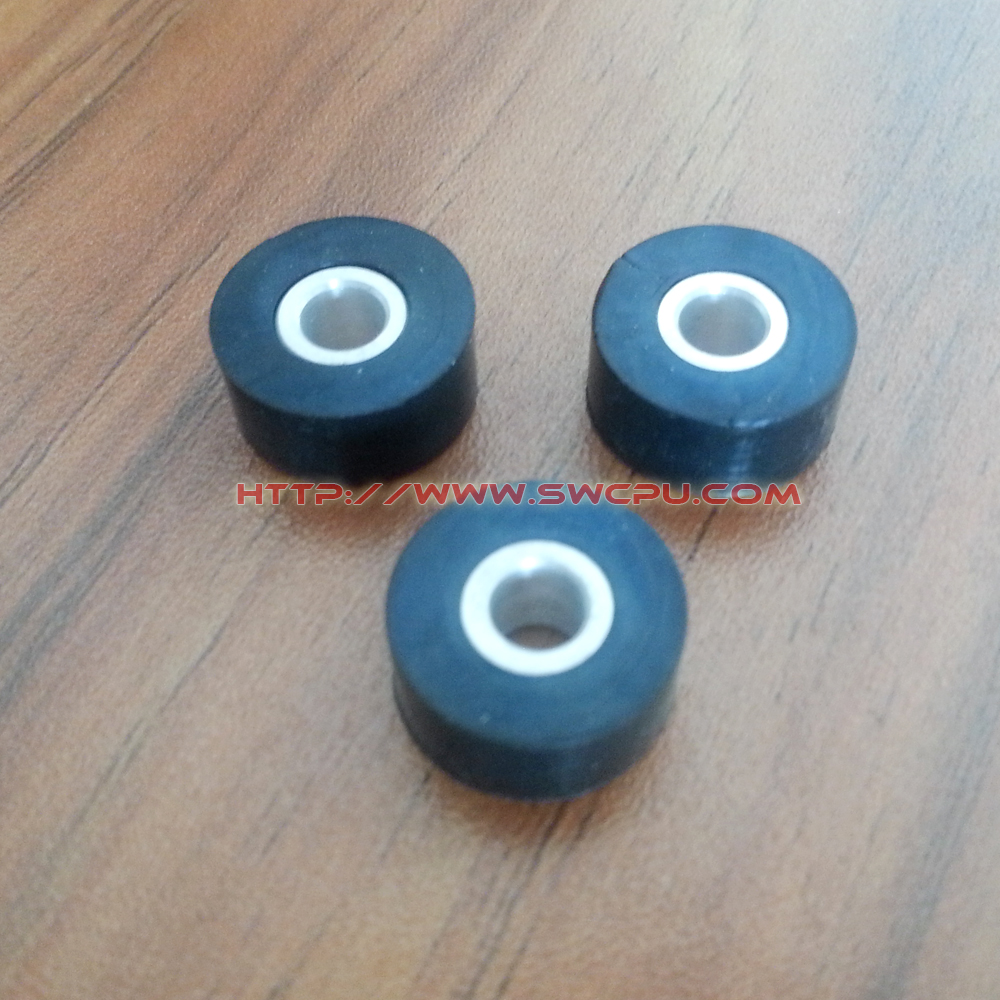 Molded OEM polyurethane/silicone small rubber wheel with bearings