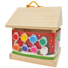 HOT SALE Unique designed custom new design wooden bird house painting toy home garden painting Wooden bird house