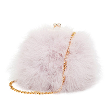 Women faux fur fluffy feather round clutch shoulder bags