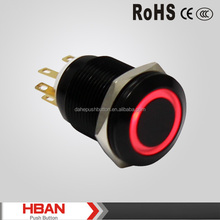 CE ROHS black metal push button switch anodised aluminum with ring illumination