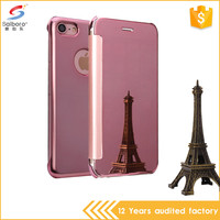 Heavy duty shockproof mirror leather flip cover for iphone 7