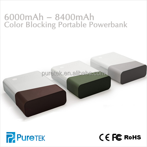 Christmas Hot Sell Color Blocking Battery Power Charger 8400mAh For iphone5 5s/Samsung/HTC/digital camera