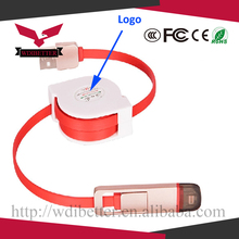 TPE material usb extension cable usb cable charger retractable usb cable with Custom Print Logo