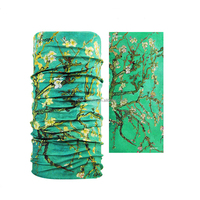 Green Color with pure flowers screen printed bandana