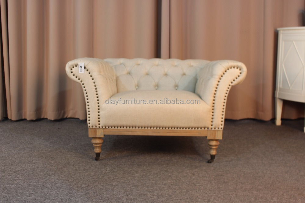 French country style chesterfield sofa ancient linen single sofa button tuffted fabric wooden sofa