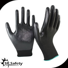 SRSAFETY 13 gauge knitted coated black nitrile safety glove/working safety gloves
