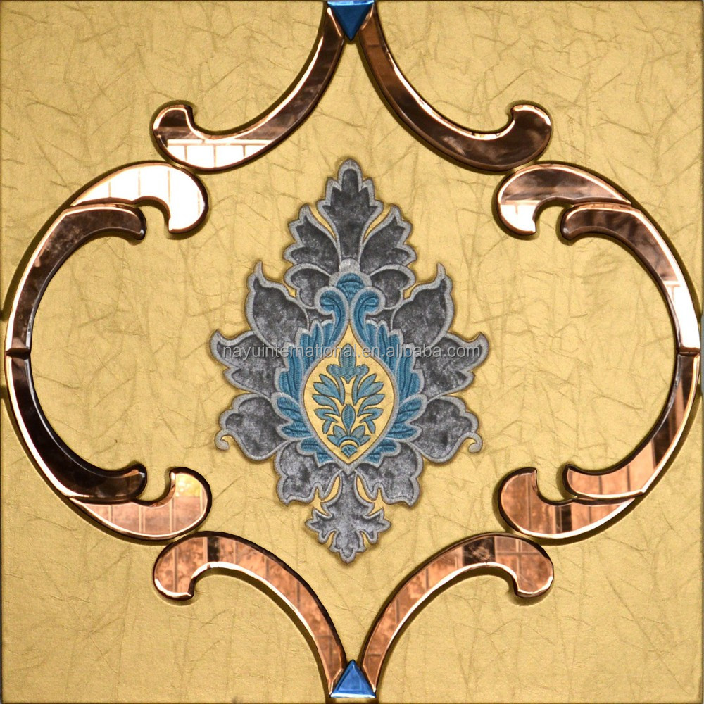 Pu leather glass decorative mdf flower wall panel buy for Decorative mdf