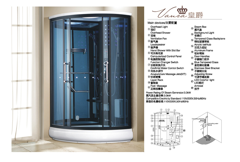 Multifuncational Bathroom Steam Room for One Person