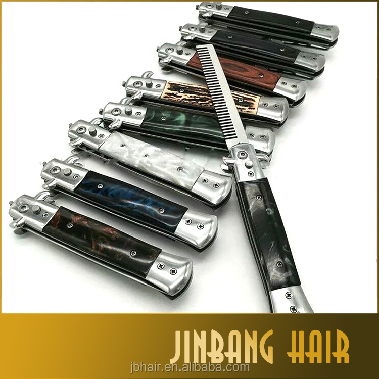 ALL style Black golden 100% Steel Butterfly Balisong Comb barber Switchblade Knife comb