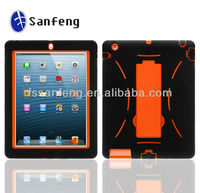 Top design useful kickstand case for ipad4/ipad3/ipad2;three in one hybrid covers cases for ipad4 shockproof case