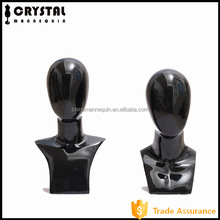 Black fiberglass display hair mannequin head model dummy male abstract egg head
