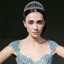 OEM Classical Headwear Wedding Queen Princess Bridal Jewelry Hair Accessories Tiara White Rhinestone Bride Crown