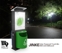 JINKE outdoor advertising solar zinc coated steel sheet dustbin, customized led display garbage can