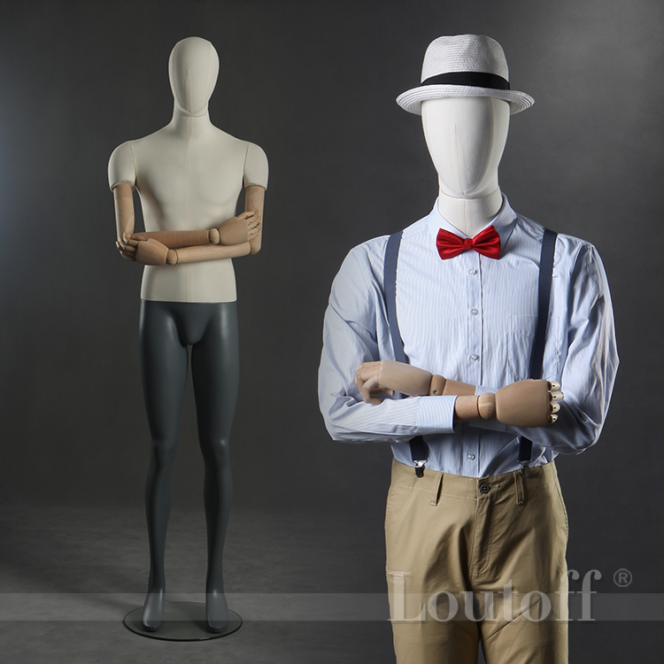 factory wholesale wooden arms egg head male fabric mannequin