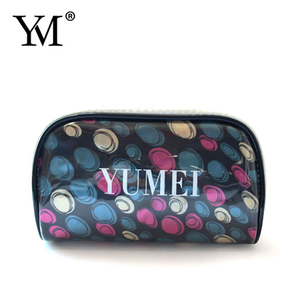 lady pvc leather mini zipper round dot low price cosmetic make up pouch bag women bags