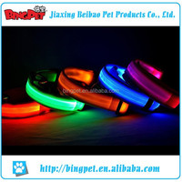 wholesale good quality leather fabric pet led collar for pet dog mixed colour and sizes