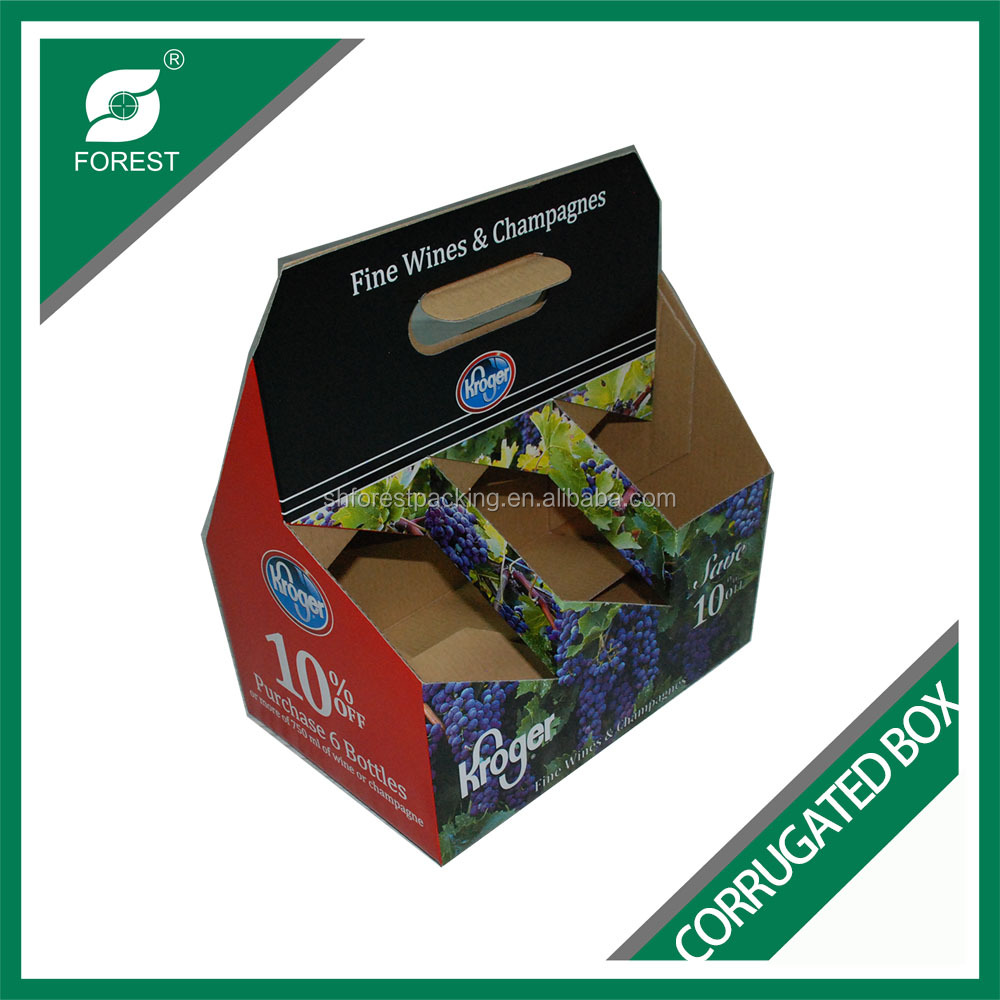 FREE SAMPLE E FLUTE CORRUGATED CARDBOARD WINE BOX SIX PACK BEER CARRIERS WITH CUSTOM PRINTING