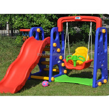 Durable exciting used kids plastic swing and slide set