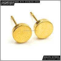 2016 trendy design jewellry round photos 18k gold plated stud earrings