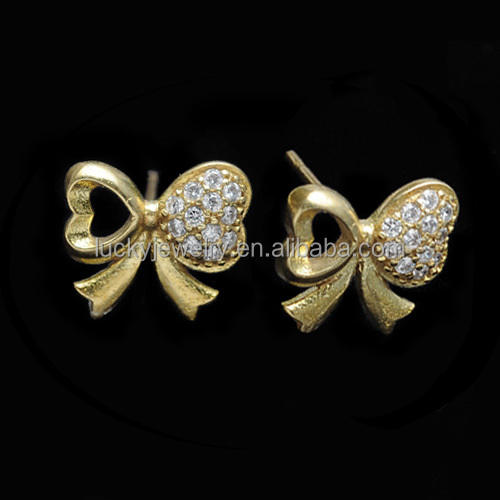 New Light Gold Fashion Stud Earrings with Bowknot Shape Stud Earrings for Ladies Wholesale