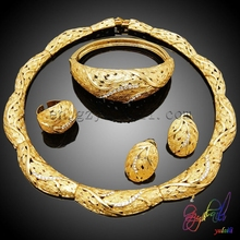 Dubai dazzling handmade fashion jewelry sets best-selling gold jewelry set diaphanous jewelry sets