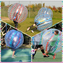 New style 2016 bubble with 1.5m Dia 0.8mm pvc colored pull buckle inflatable ball bumper bubble football for hit sport