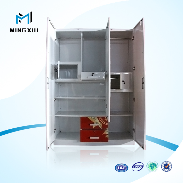 Mingxiu Low Price India Style Steel 3 Door Almirah Wardrobe with 4 Feet