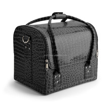 Wholesale black PU leather cosmetic makeup case