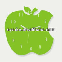 32 * 30cm Green Apple Shaped Acrylic Contemporary Wall Clocks