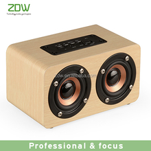 Fashionable portable wireless music woody bluetooth speaker 6w 1500mAh subwoofer speaker
