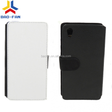 Factory Price Blank sublimation card holder leather flip cover for sony Z5 Heat Transfer Leather Flip Cover