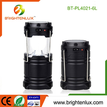 2016 Hot Sale 3*AA Battery Powered Outdoor Hand Plastic Bright Multifuncational Folding Solar Rechargeable 6 led Camping Lantern