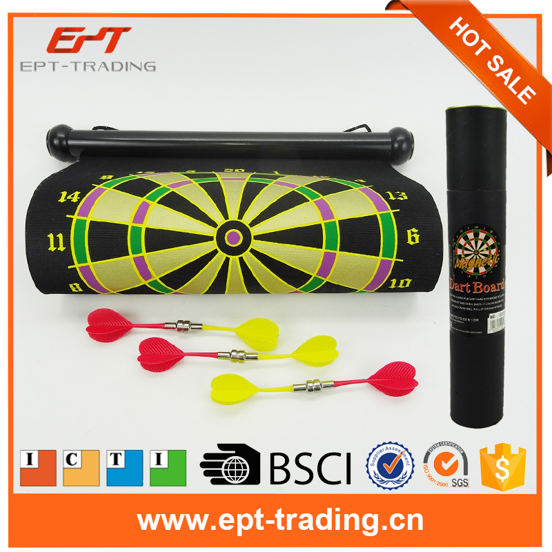 Magnetic Roll-up Dart Board Double Sided Hanging Dart Game throwing toys plastic sport set for kids