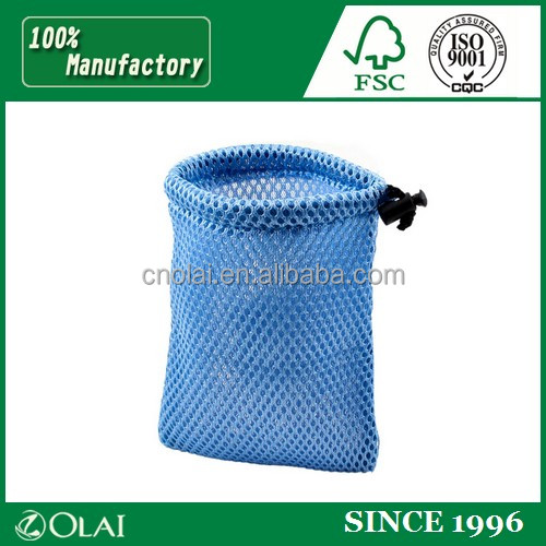 Durable high- end black small poleyster mesh pouch bag with logo lable,one string side small mesh gift bags