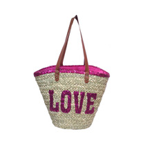 2016 new design and hot selling sequin words straw shoulder bags