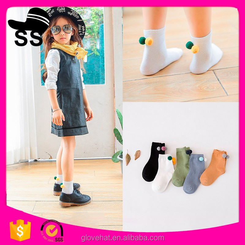2017 Wholesale High Quality Reasonable Price Cotton Nice Small Balls Sweet Colors Girls Children Socks