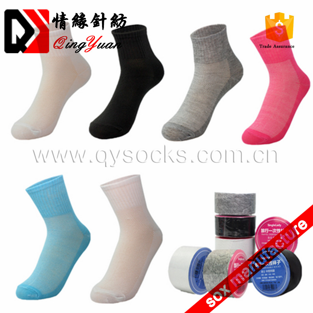 Factory wholesales colorful disposable breathe women socks for travel
