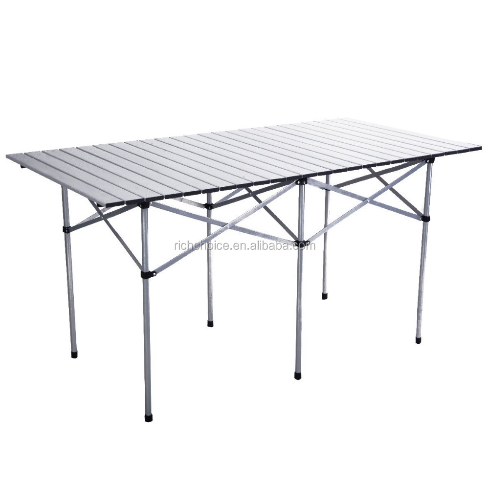 "Roll Up Portable Folding Camping Square Aluminum Picnic Table w/Bag (55"" )"
