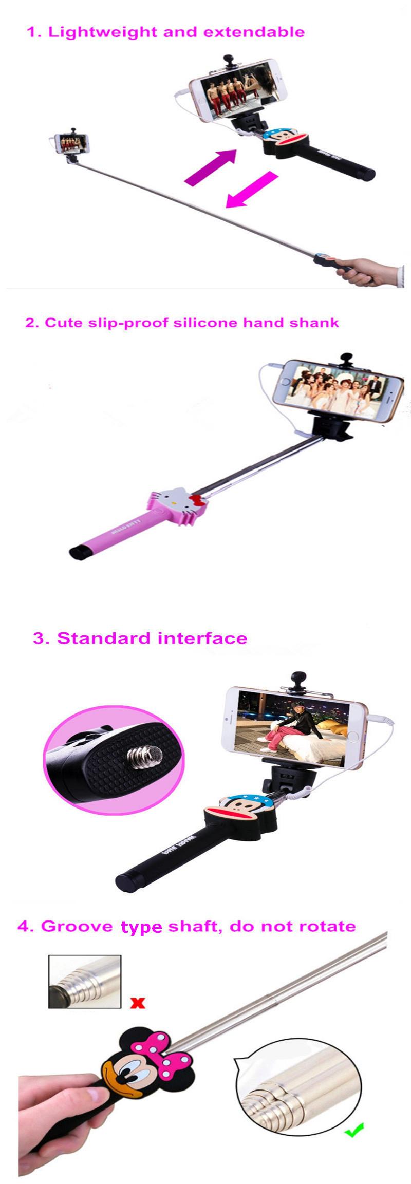 fexible mini cartoon monopod selfie stick custom selfie stick foldable buy fexible monopod. Black Bedroom Furniture Sets. Home Design Ideas