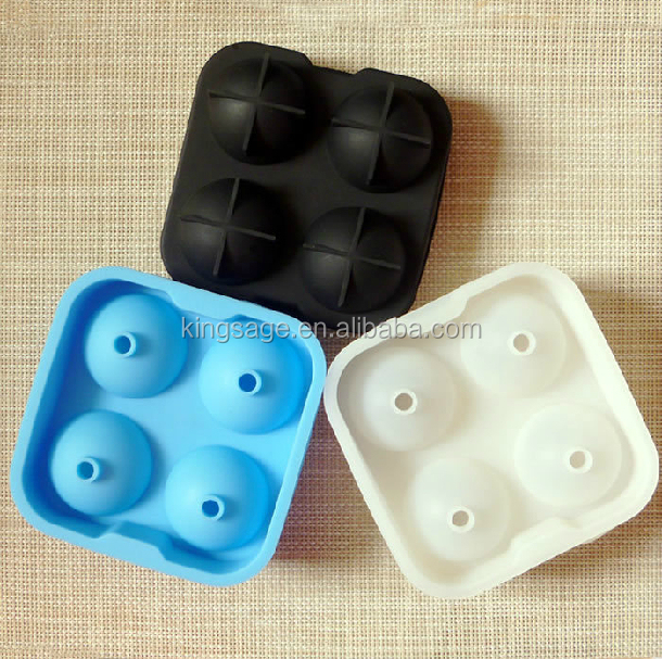 Silicone Ice Ball Tray With 4 Cavities , Ball Shaped Food Grade Custom Silicone Mold , High Quality Sphere Ice Molds