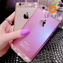 Luxury hard plastic cell Back Women Case Handmade Bling Diamond decorative cell phone cases for iphone 6