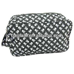 Skull Canvas Cosmetic Bag With Handle Toiletry Bag For Women