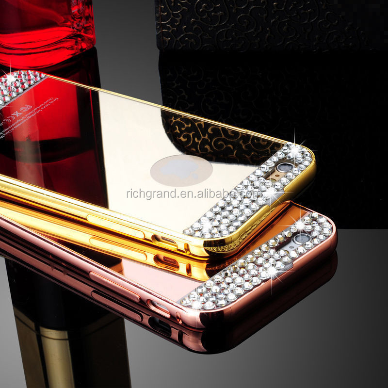 Gold Silver Diamond Bling Crystal TPU Mirror Phone Case For iPhone 6 6S