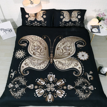 Luxury Black and Gold Butterfly and engraved designs Hd 3d digital bed linen <strong>set</strong>