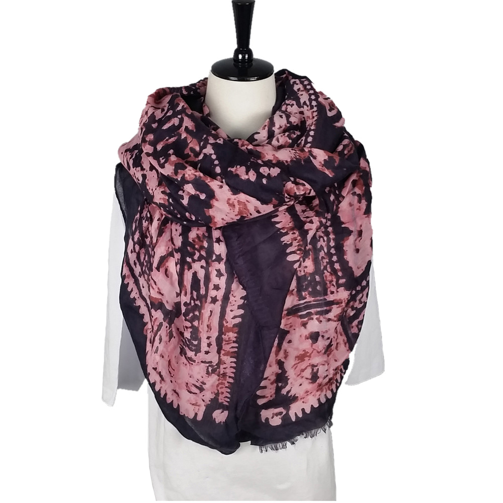 Black Scarf with Pink Pattern Light Weight Chiffon Scarf Easy to Carry Scarf Customized