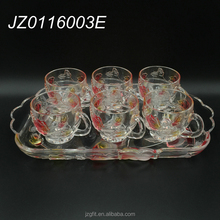 High quality wholesale 7pcs crystal glass tea set with rose flower pattern, glass tea glassware for home&restaurant