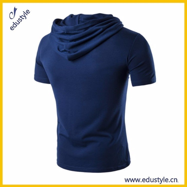 China Made Cheap Wholesale Mens Short Sleeve Hooded Shirt